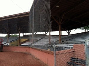 While the aluminum bleachers take away from the classic look, those backrests must be welcome.